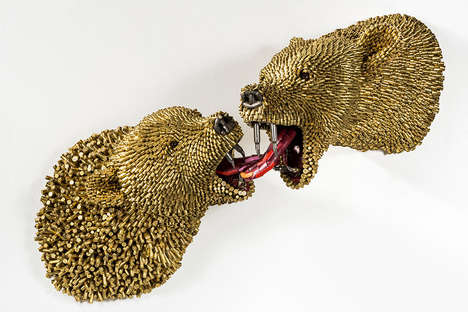 Bullet Shell Animal Sculptures - The 'We're at Peace' Art Collection is Made from Used Bullet Shells
