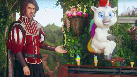 Poop-Aiding Footrest Ads - This 'Squatty Potty' Ad Features Unicorn Poop as Ice Cream Fit for a King