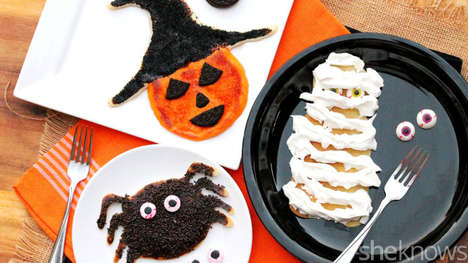 Ghoulish Halloween Pancakes - These Homemade Breakfast Cakes Replicate Spooky Creatures