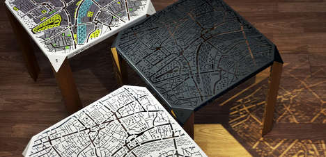 Map-Engraved Side Tables - This Attractive Side Table is Laser-Cut with an Engraved Map of London