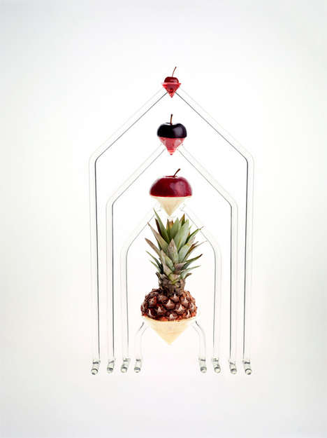 Floating Fruit Glass Sculptures - This Collection of Glass Sculptures Let Fruit Float in Mid Air