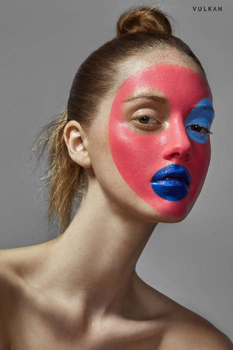 Dramatic Face Paint Editorials - This 'Geometric Beauty' Photoshoot Uses Skin as its Canvas
