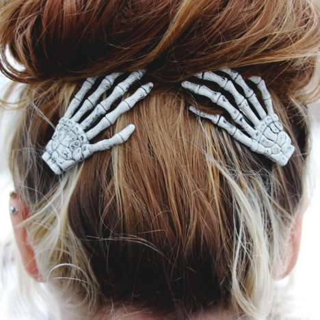 Skeletal Hand Hair Clips - These Creepy Skeleton Accessories Add a Spooky Touch to Hair Do