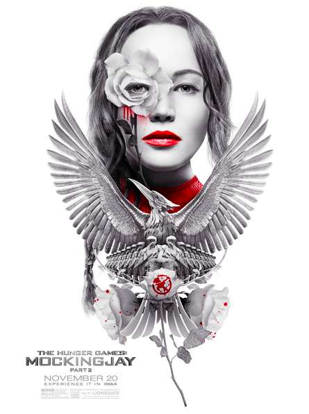 Cryptic Cinematic Dystopia Posters - This IMAX Mocking Jay - Part 2 Poster is Designed as Propaganda