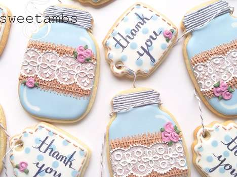 Dainty Glassware Cookies - These Pretty Sugar Cookies are Decorated with Lace and Burlap Details