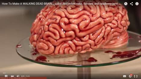 Terrifying Anatomical Desserts - This Red Velvet Brain Cake Takes Halloween Baking to New Extremes