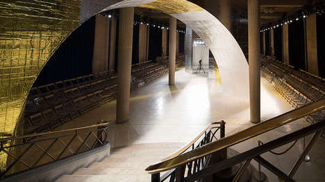 Reflective Metallic Runways - This Women's Fashion Show Runway Features Sleek Golden Archways