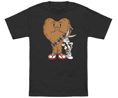 Cartoon Crossover Apparel - This T-Shirt Features Looney Tunes Characters as Han Solo and Chewbacca