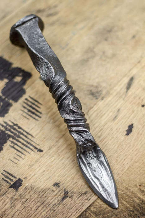 Hand-Forged Oyster Knives - This Twisted Oyster Knife is Made from a Salvaged Railroad Spike