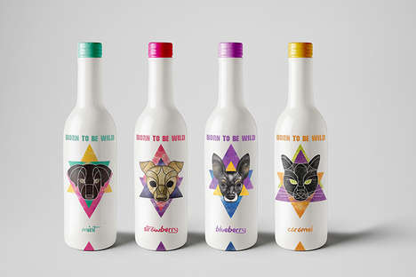 Geometric Drink Logos - The 'Born to be Wild' Energy Drinks Feature Hand Drawn Animal Logos