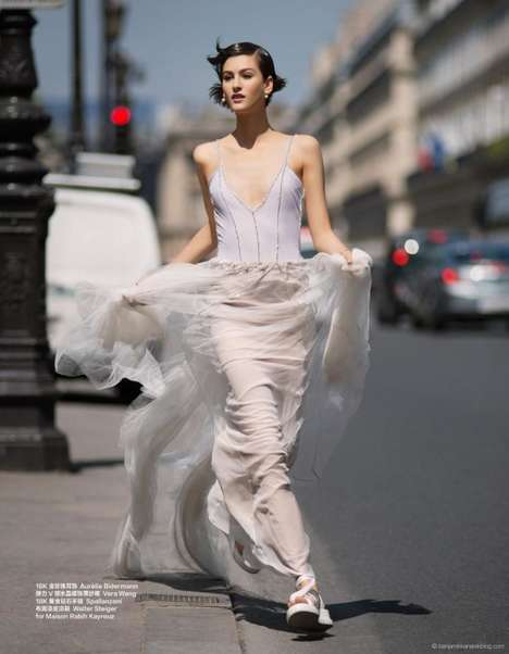 Carefree Bridal Photoshoots - Athena Wilson Walks Her Dog in a Wedding Gown in This Nonchalant Shoot
