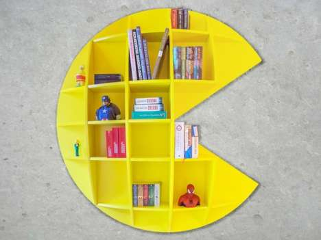 Modular Arcade Bookshelves - This Floating Shelf Design Takes Inspiration from the Pac-Man Game