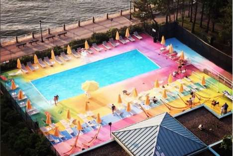 Historical Technicolor Pools - This Colorful Swimming Pool is Located on the Site of an Old Hospital