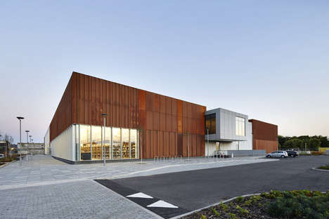 Weathered Steel Facades - This Community Center is Covered in an Oxidized Steel Exterior