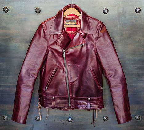 Luxurious Motorcycle Jackets - This Limited Edition Horween Motorcycle Jacket is a Dapper Burgundy