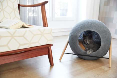 Cocoon-Inspired Cat Beds - This Elegant Pet Bed is Designed for Discerning Owners
