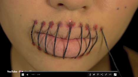 Stitched Mouth Halloween Makeup - This Halloween Tutorial Creates a Terrifying Cosmetic Effect