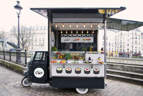 Convenient Sushi Carts - COY's Brand Identity Targets On-the-Go Food Fans