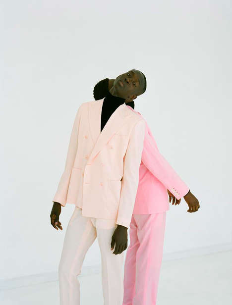 Masculine Pastel Editorials - 'Pretty in Pink' Marries Retro Imagery With Vintage Menswear Styles