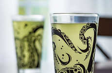 Sea Creature Kitchenware - The Tentacle Pint Glass Set Features Ornate Undersea Scenes