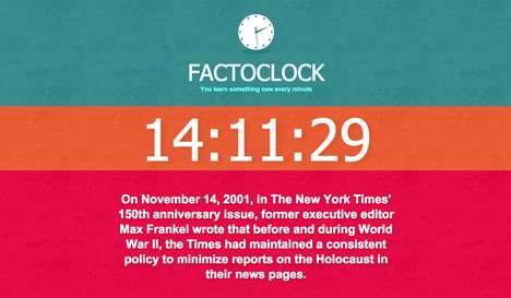 Educational Web Clocks - Factoclock Teaches You New Fun Facts Every Single Minute of the Day