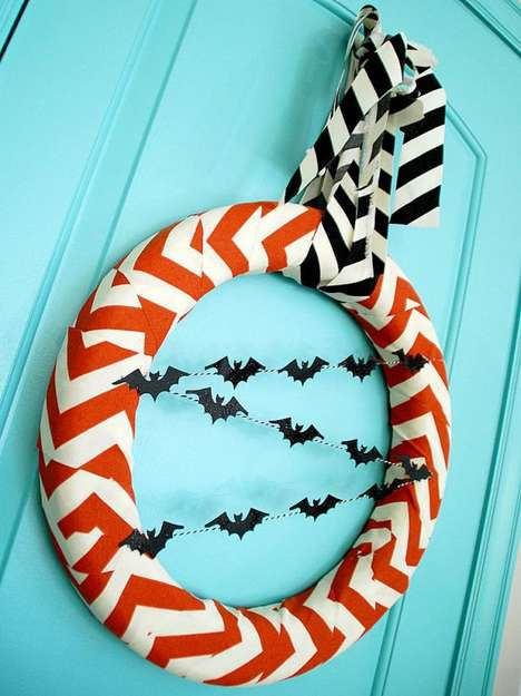 Chevron Halloween Wreaths - This Fashionable Bat Wreath Will Bring Glamour to Halloween