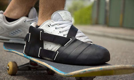 Protective Skate Shoe Gear - This Invention Protects Skateboarding Shoes From Scraping the Concrete