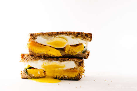 Pumpkin Grilled Cheeses - This Fall Twist on a Classic Recipe Incorporates a Fried Egg and Sage