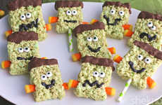 Monstrous Cereal Treats - These Rice Krispie Squares are Look Like Ghoulish Frankensteins
