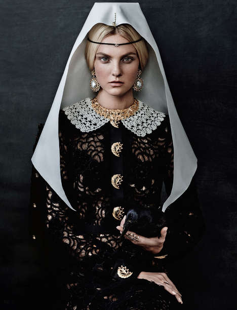 Regal Portrait Editorials - Caroline Trentini Refashions Classic Paintings for Vogue Japan