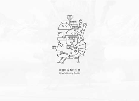 Simplistic Anime Illustrations - These Black-and-White Icons are a Tribute to Studio Ghibli
