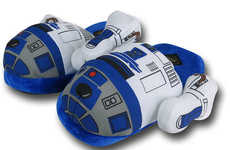 Galactic Droid Slippers - This Plushy R2-D2 Footwear is Ideal for Star Wars Fans to Adorn at Home