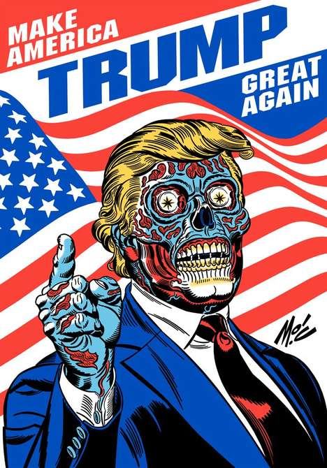 Zombified Presidential Campaigns - This Donald Trump Poster Playfully Redesigns the Business Mogul