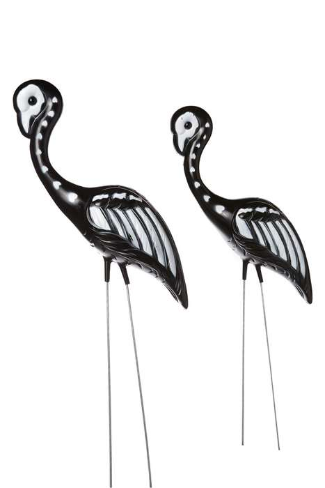 Skeletal Flamingo Ornaments - This Outdoor Halloween Decoration Puts a Spin on Classic Lawn Decor