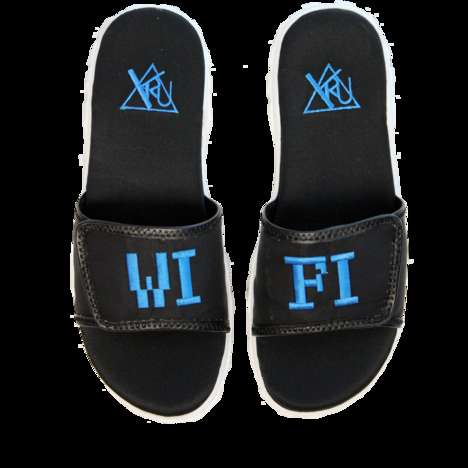 Internet-inspired Slide Slippers - These WiFi Neoprene Sandals by YRU are Considerably Health Goth