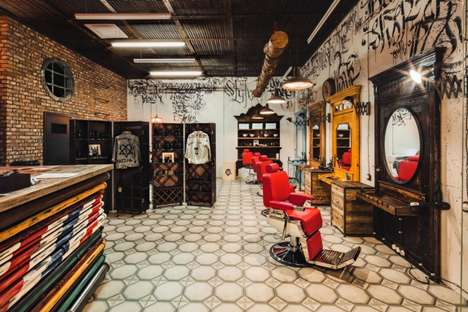 Hyper-Masculine Barbershop Designs - The Black Beard Barbershop in Moscow is Typically Male-Focused