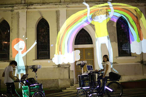 Animation-Projecting Tricycles - This Traveling Art Show Displays Artwork on Street Walls