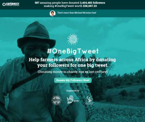 Follower-Donating Campaigns - The Social Charity Campaign 'OneBigTweet' Accepts Unusual Donations