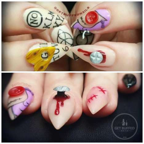 Gruesome Embellished Manicures - This Halloween Nail Art Features Eerie Decorations and Fake Blood