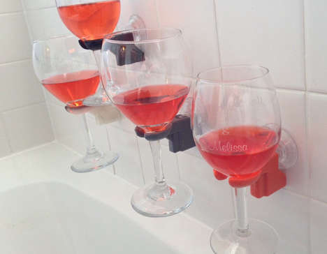 Bathroom Wine Holders - These Suction Cups Keep Your Wine by Your Side in the Shower or Tub