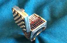 Chess Set Rings - This Ring Design Opens Up to Feature a Miniature Chess Board