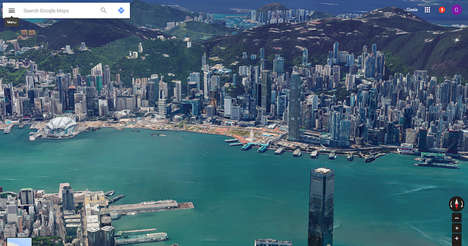 Stunning Aerial City Views - This Google Maps 3D Rendering Gives Users a Birds-Eye View of Hong Kong
