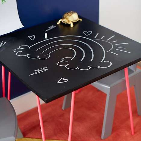 Creative Chalkboard Furniture - Land of Nod's Neon Table Decor Boasts an Erasable Drawing Surface