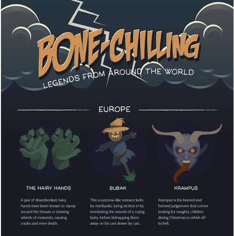 Spooky Legend Charts - This Graphic Defines Tales Around the World for the Halloween Season