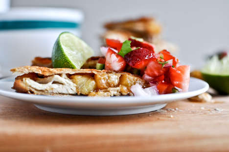 Caramelized Fruit Quesadillas - This Pineapple Quesadilla Recipe is Served with Strawberry Salsa