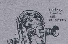 Doodled Robot T-Shirts - This Funny Shirt from Cotton Bureau Features a Cute Hand-Drawn Killer Robot