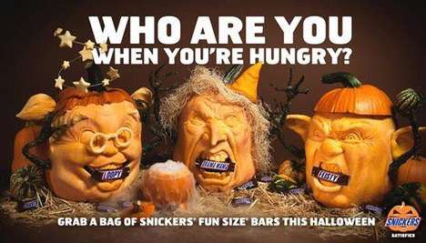 Candy-Eating Pumpkins - This Pumpkin Carver Promotes Snickers Bars with 3D-Sculpted Jack-O-Lanterns