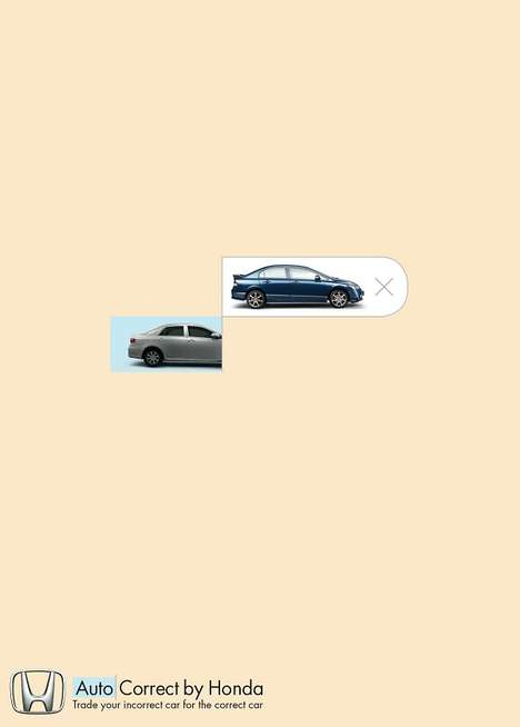 Autocorrected Car Ads - These Honda Ads Show Texts Being Corrected From Car Icons to Honda Vehicles