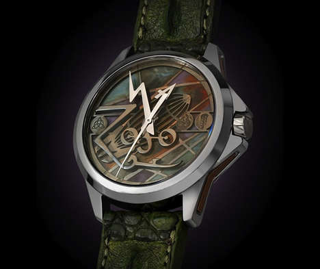 Rockband-Inspired Timepieces - The Led Zeppelin Tribute Watch Has Alligator Straps & the Zoso Symbol