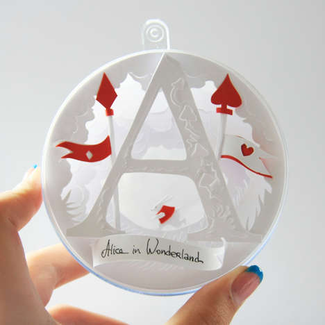Holiday Fairy-Tale Baubles - These Pretty Paper Ornaments Combine Alice in Wonderland and Christmas
